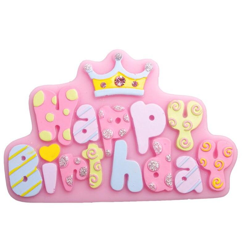 Gëzuar ditëlindjen e letrave formoni mjete dekorative për formën e tortës me çokollatë silikoni, kuzhina DIY pajisje pjekjeje F0750
