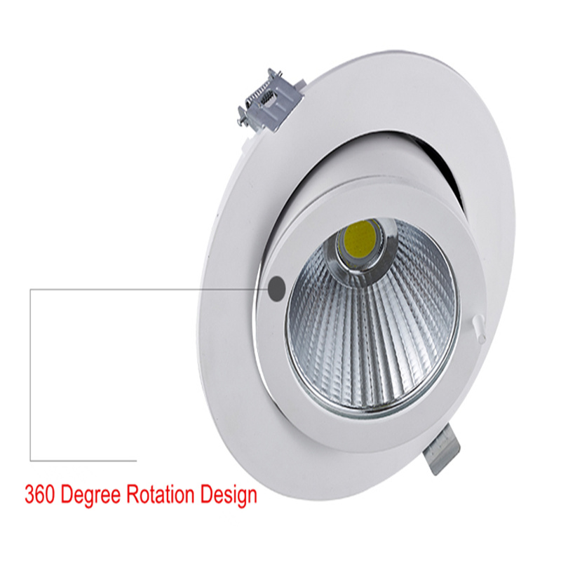 1pcs 360 Degree Rotation recessed led Indoor Light cob led downlight 10W 15W 25W 30W  LED Trunk Downlight COB Ceiling AC85-265V