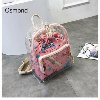 Osmond Cute Clear Backpack Female Transparent Mini Back packs Harajuku Schoolbags Women Backpacks For Teenage Girls Small bag алиэкспресс сумка прозрачная