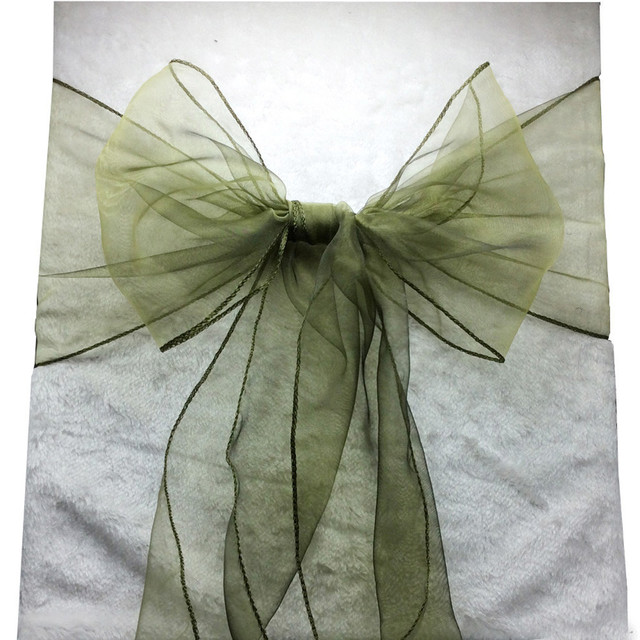 Chair Covers Sage Green French Style Free Shipping 100pcs Wedding Cover Ties Crystal Organza Bow Sashes For Party Event Banquet Decoration