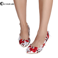 Shoes Women's Shoes Pumps Chinese style Red Wedding Shoes High Heels Pointed Toe Lace Butterfly Bride Party large size 40 47