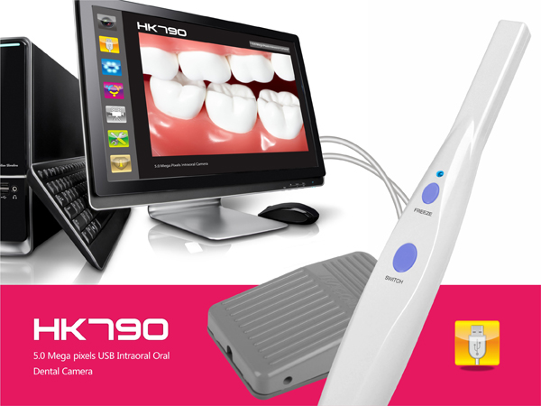 DHL free shipping 2018 New 5.0 Mega Pixels USB 6-LED Dental Intraoral Oral Camera with software no Pedal HK790