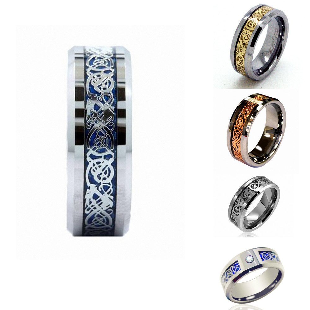 8mm white tungsten ring dragon inlay couples promise rings promise