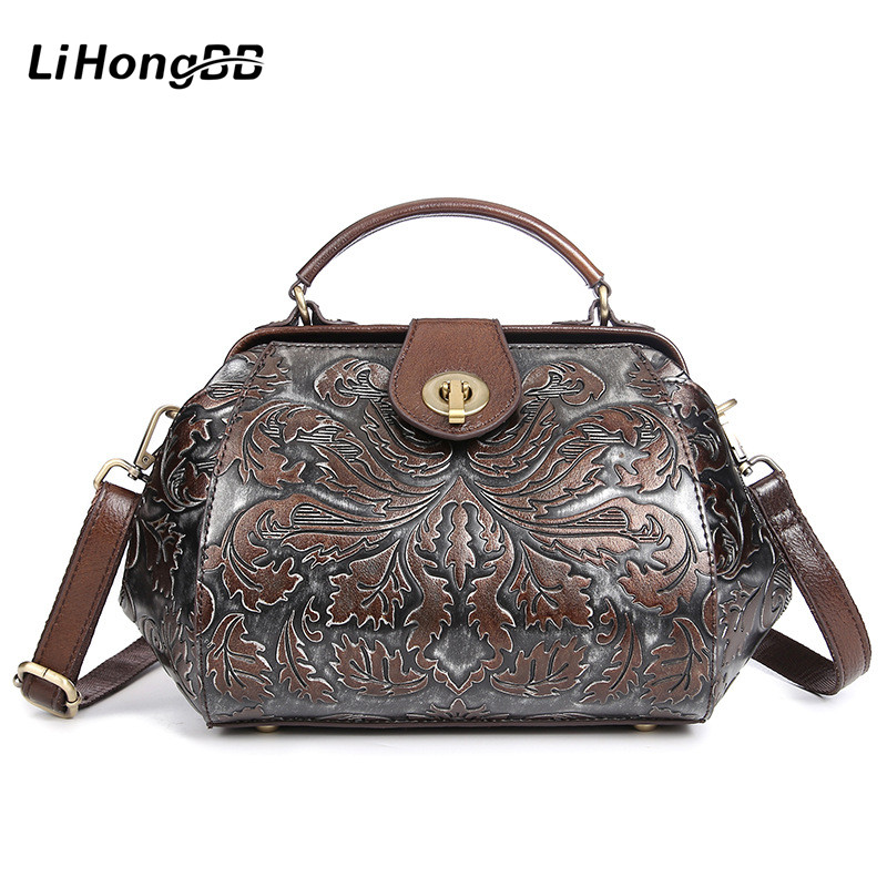 Fashion Floral Printing Ladies Handbag Genuine Leather Women Small Tote Bags Female Vintage Messenger Bags Women's Bag With Lock uiyi brand new men backpack black waterproof backpack fashion pu leather travel bag casual school bag for teenagers 2018