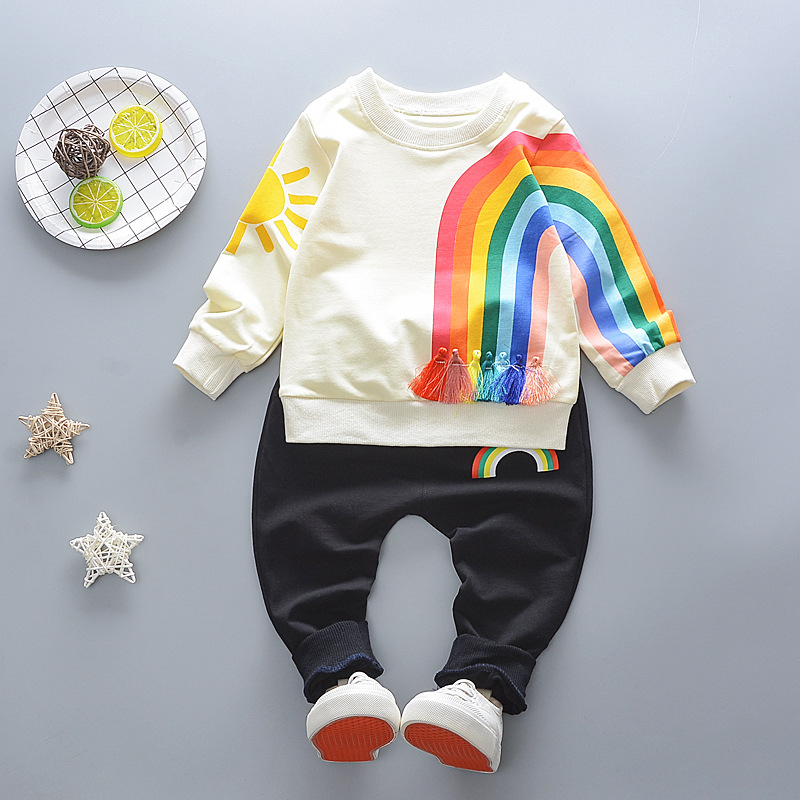 Baby Boy Clothes New 2018 Spring Autumn Children Clothing set Cotton Rainbow T-shirt Tops+Harlan Pants 2PCS Outfits For Kids ...