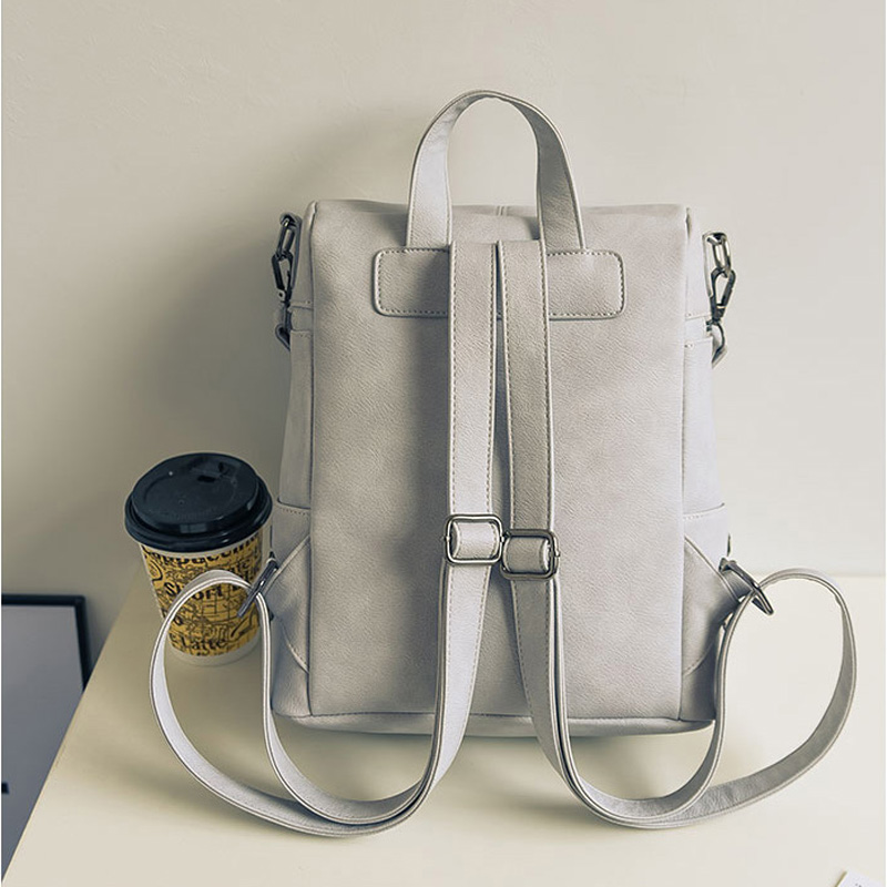 65db7a8dbc58 Simple Style Backpack Women PU Leather Backpacks For Teenage Girls School  Bags Fashion Vintage Solid Shoulder Bag Black XA568H - TakoFashion - Women s  ...