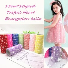 15cm*10yard Trefoil Heart Tulle Roll Encryption Soft Tulle Spool Craft Organza DIY Tutu for Wedding Party Christmas Decoration encryption for video
