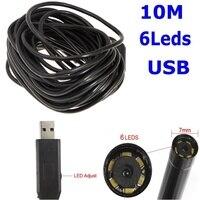 10M Waterproof 7mm USB Inspection Borescope Endoscope Snake Scope 6 LEDs Tube Micro Camera