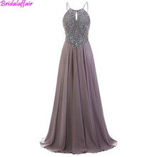 Luxury Spaghetti Strap Crystals Beaded Sequined Prom Dress 2019 High Quality Backless Chiffon Long Evening Dresses Robe Soiree