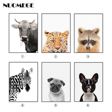 Cute Animal Posters Dog Wall Art Tiger Picture Bull Canvas Painting Fox Zebra Childrens Room Modern Nursery Decorations