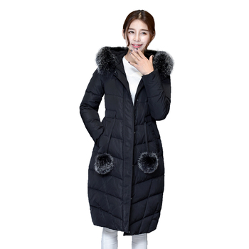 Winter Down Coat Women Ultra Long Parka For Women White Duck Down Jacket Thicken Coat Hooded with Fox Fur Collar Free Shipping