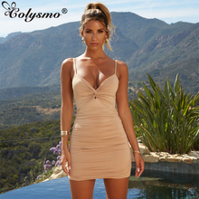 Colysmo Winter Sexy Dress Women Ruched Elegant Bodycon Dresses Party Club Wear Womens Autumn Mini Tow Layers Vestido