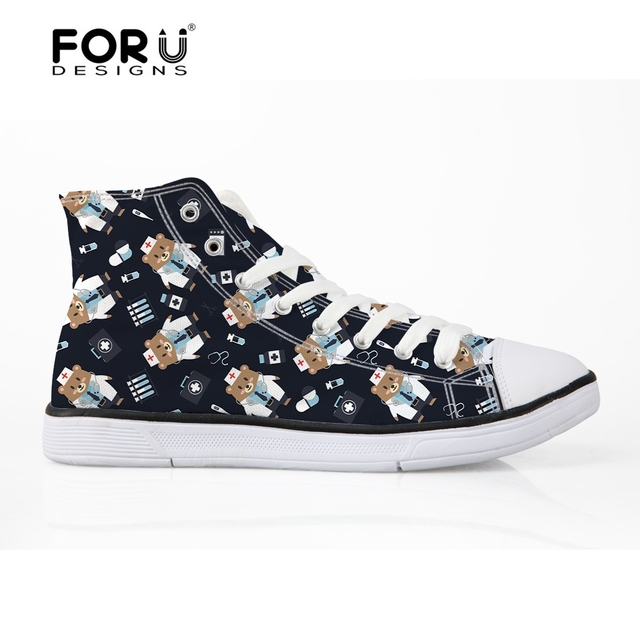 FORUDESIGNS Female Cute French Bulldog Frenchie Casual Vulcanize Shoes  Women 3D Denim Pocket Animal High Top Canvas Shoes Woman 7d357387ff4b