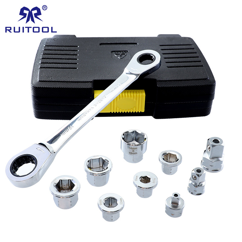 Ratchets Socket Wrench Set 6-19mm Double End Hexagon Spanner 40CR-V Kit Socket Adapter With Storage Box wrench