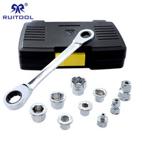 Ratchets Socket Wrench Set 6 19mm Double End Hexagon Spanner 40CR V Kit Socket Adapter With Storage Box