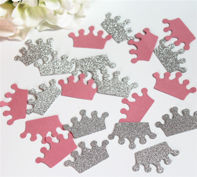 Silver Glitter And Pink Crown Confetti Custom Its A Girl Baby