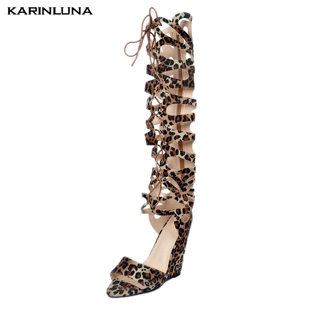 Karinluna 2019 Big Sizes 35-47  Women Shoes Gladiator Boots Fashion Sexy Party Shoes WomanKarinluna 2019 Big Sizes 35-47  Women Shoes Gladiator Boots Fashion Sexy Party Shoes Woman