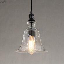 JW_New Retro minimalista Industrial estilo europeo personalidad Loft cristal campana colgante lámpara Vintage luces para dormitorio cafetería tienda
