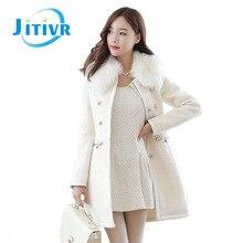 2016 winter women Korea female temperament slim wool coat fur collar coat wool coat women fashion outwear