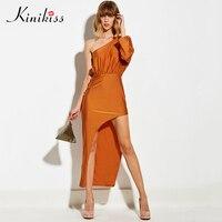 Kinikiss Women Maxi Dress 2017 New Summer Dress Orange Asymmetrical Pleated Backless Party Dress Spring Fashion