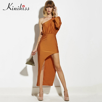 Kinikiss Women Maxi Dress 2017 New Summer Dress Orange Asymmetrical Pleated Backless Party Dress Spring Fashion