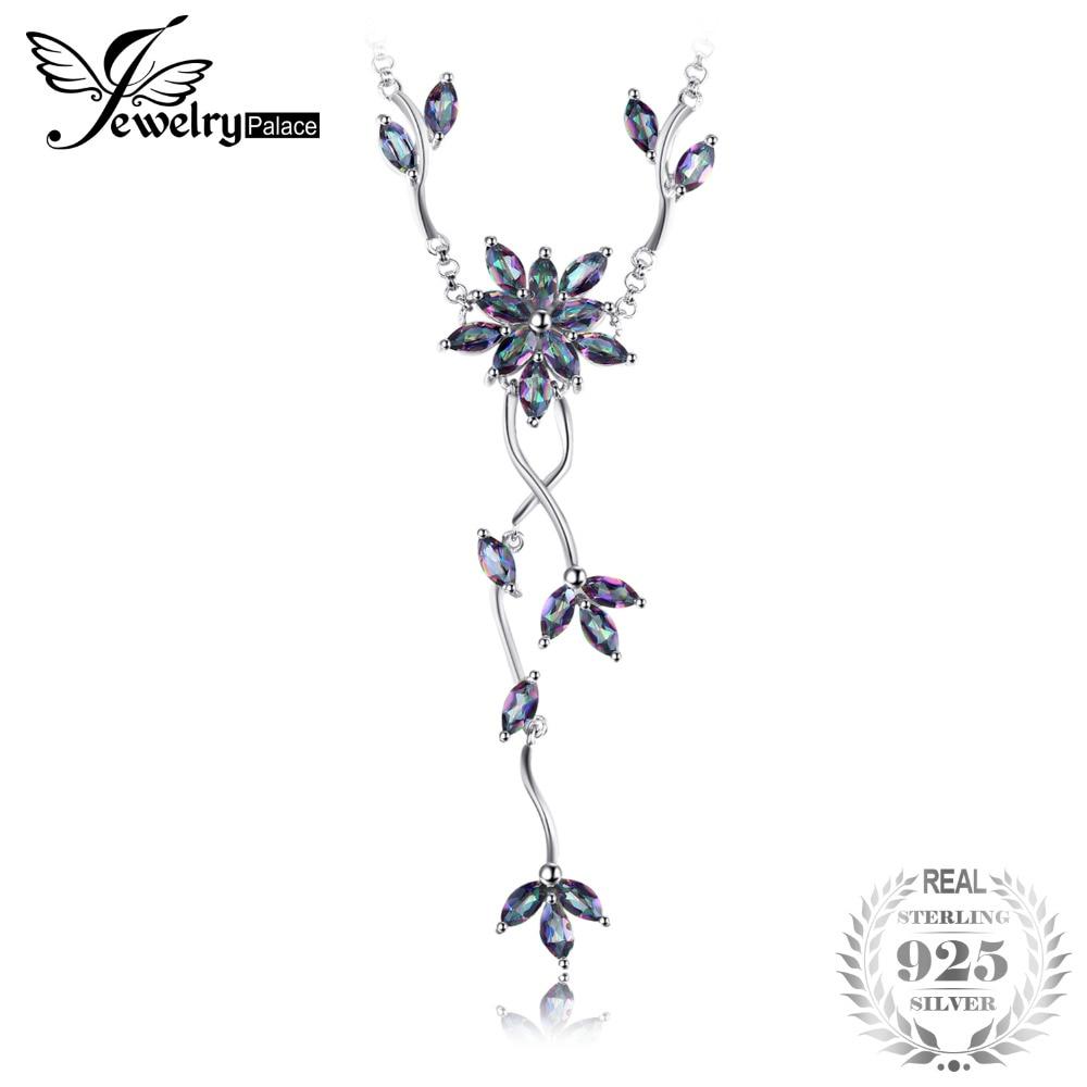 5.2ct Genuine Íris Místico Topaz Colar Collar Sólidos Pure Real 925 Sterling Silver Moda Fine Jewelry Presente Para As Mulheres
