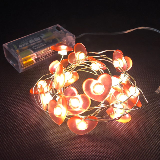Red Heart Led Fairy Lights 78 74 Length 2aa Battery Operated Xmas Decor Light Copper String Party Lighting Chain Steady On