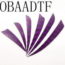 100pcs 3 4 5 Water Drop Shield Cut Shape Striped Purple Hunting Archery Accessories Arrow Feather Bow