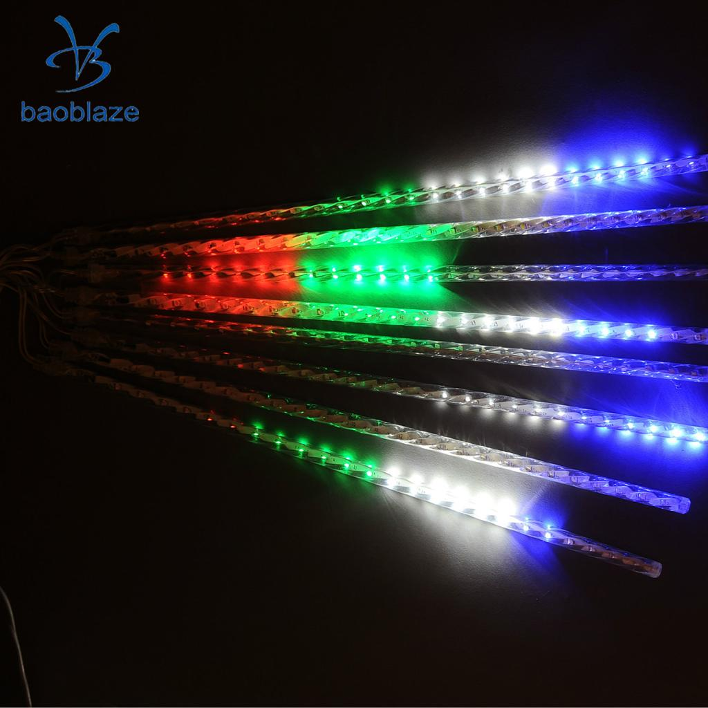 LED String Fairy Light Meteor Rain 8Tube Home Garden Tree Decor Light_EU Plug Multi-colored