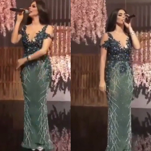 arabic prom dresses sweetheart neckline short sleeve mermaid beading sequins green evening gowns 2019