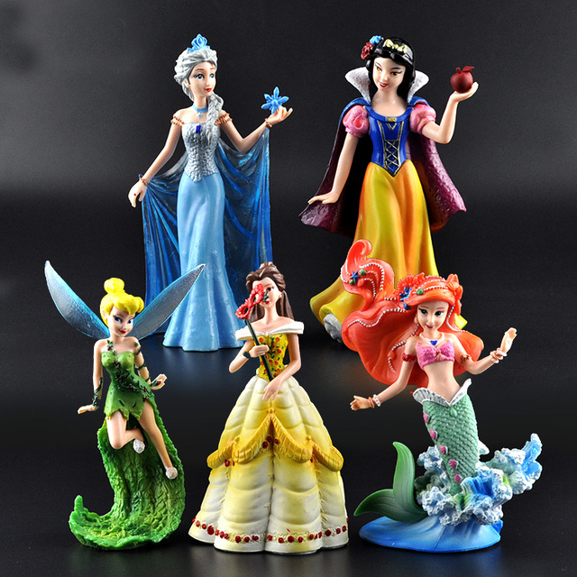 Disney Princess Frozen Elsa Mermaid Snow White Tinkerbell 5 Pcs/Set 10-13cm
