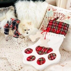 Image 4 - OurWarm Plaid Christmas Stocking New Year Gift Bag for Pet Dog Cat Christmas Goods Xmas Tree Hanging Ornaments navidad 2018