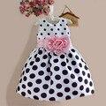 Venda quente de Natal Super Flor Vestidos de Meninas para a Festa de Casamento e Imprimir Dot Princesa Crianças Vestido de Roupas de Moda infantil