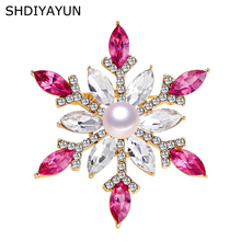 SHDIYAYUN 2019 Pearl Brooch Natural Freshwater Pearl Snowflake Brooch Simple Pins for Women Wedding Jewelry Women's Accessories цена и фото