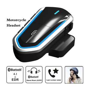 Image 1 - אופנוע קסדת אוזניות Bluetooth 4.1 אוזניות האינטרפון עמיד למים אלחוטי ארוך המתנה קסדת אוזניות אוזניות מקלט