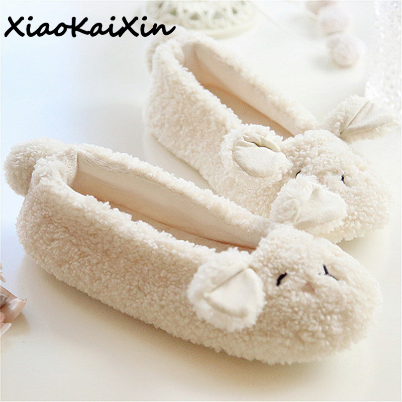 XiaoKaiXin Ballet Style Women Home Slippers Spring/Autumn Warm Plush Beige Cotton Shoes Woman Animal Cute Sheep Bedroom Slippers cute bear plush slippers with leaf pantoufle femme women shoes woman house animal warm big animal woman funny slippers