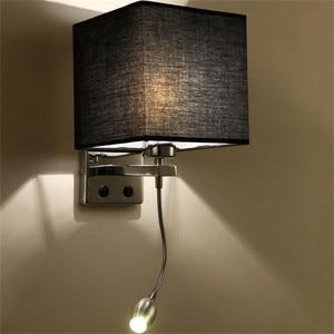 Image 4 - LED Kumaş Başucu Duvar Lambası Anahtarı ve Esnek Okuma Lambası Başlık Lambası Otel Odası Başucu Okuma Duvar Lambası NR51