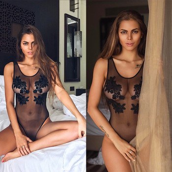 See through mesh one-piece suit embroidered piece swimsuit women sexy non-padded bathing transparent swimwear black