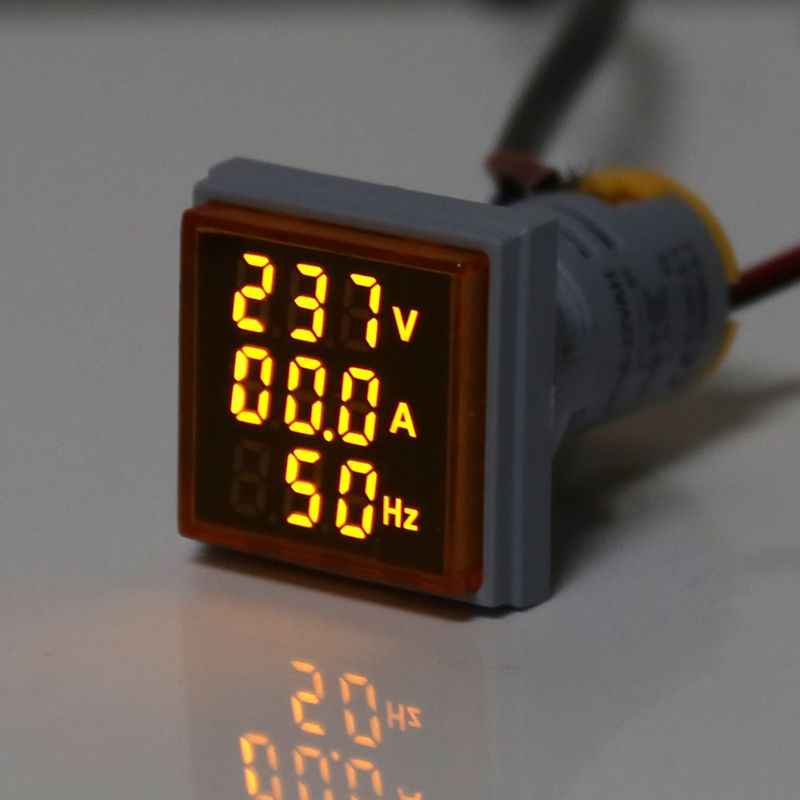 Digital 3in1 AC Ammeter Voltmeter Hz Current Frequency Meter Square Signal Light 22mm Digital Voltage Amp Hz Led Lamp Indicator