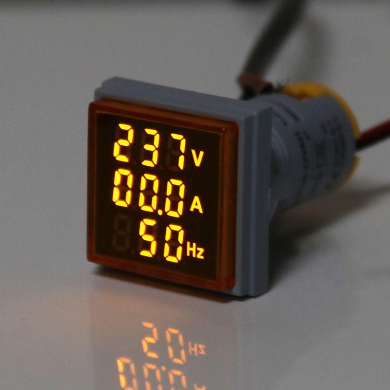 Digitale 3in1 AC Amperemeter Voltmeter Hz Aktuellen Frequenz Meter Platz Signal Licht 22mm Digital Spannung Amp Hz Led Lampe anzeige