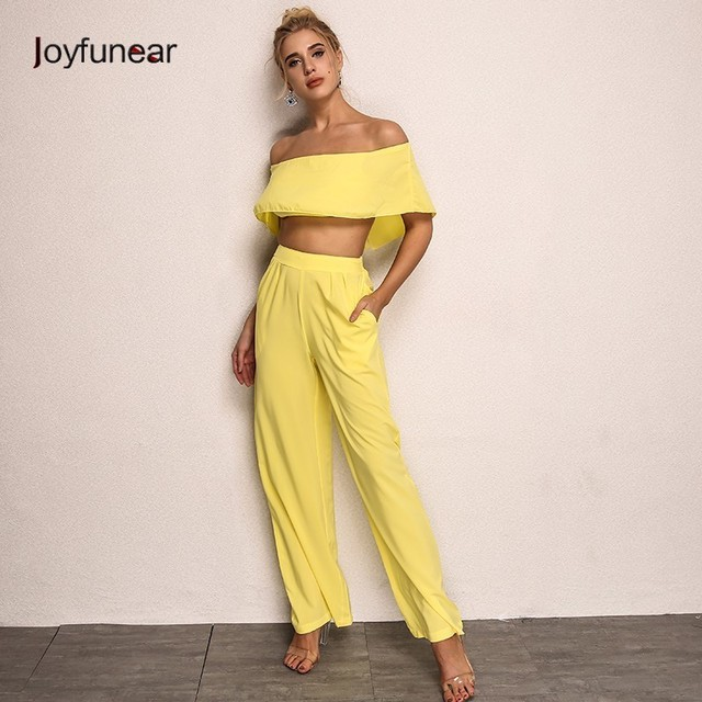 98a6140d467 Jofunear Sexy Women Two Piece Outfits 2018 Fashion Elegant Jumpsuit Crop  Tops Long Pants Chiffon 2