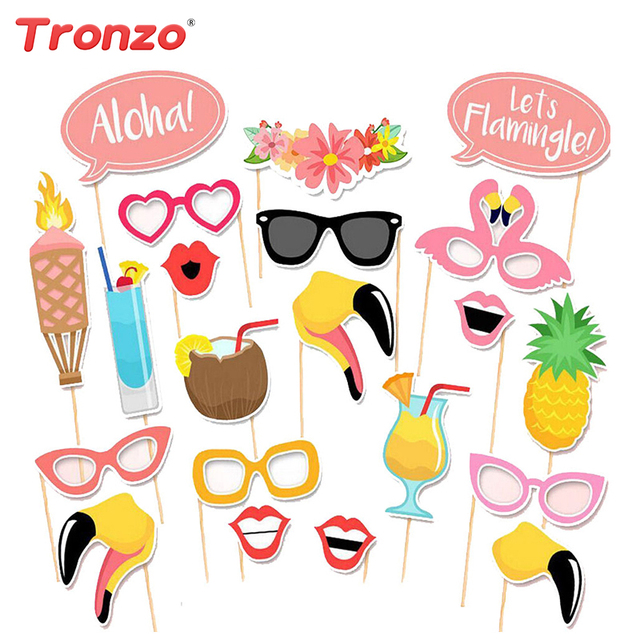 Tronzo 21pcs Flamingo Photo Booth Props Tropical Party Funny Holliday Beach Hawaii Style Decor Photobooth