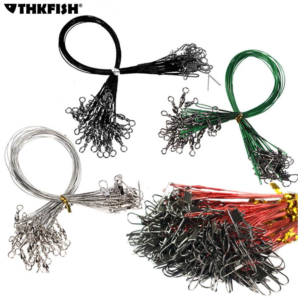 60 Pcs lot Fishing Line Steel Wire Leader With Swivel Fishing Accessory 4 Color Fishing Wire Olta Leadcore Leash