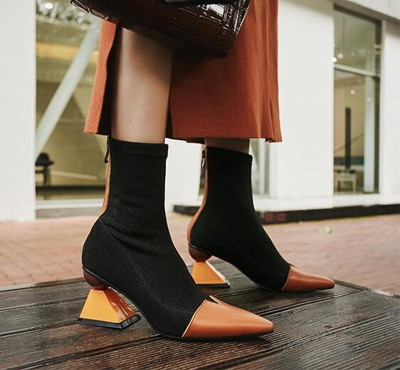 Multicolore Chaussures Talon Bonneterie orange Beige Femmes Bout Cuir Bottes Spécial En Pointu Forme Cheville De B117 Casual H4cqgOI