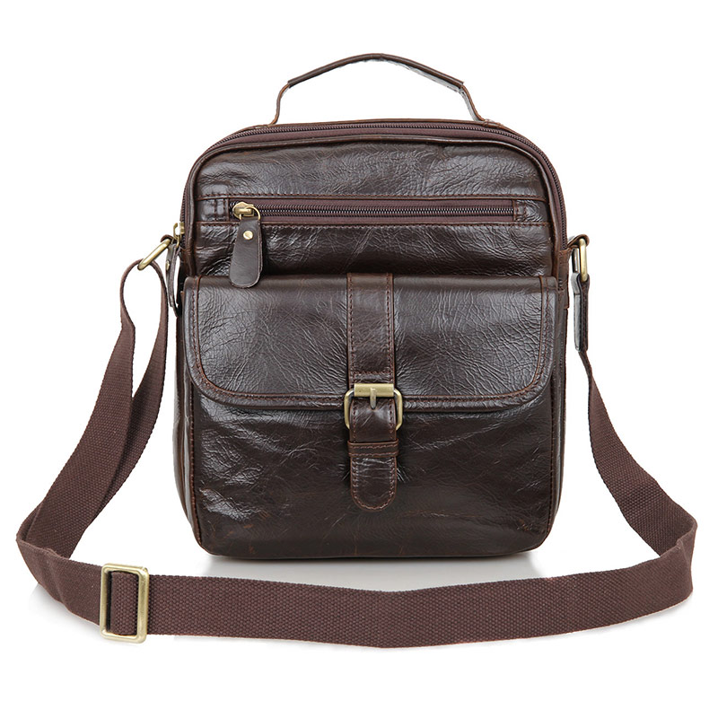 JMD Genuine Tanned Leather Coffee Men's Messenger Bag Small Sling Bag 7141Q-1 jmd crazy horse leather womem messenger bag small top hand sling bag for girls c004r