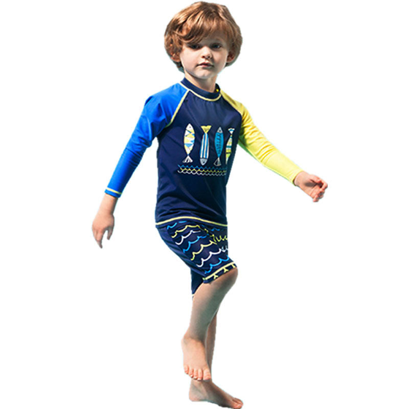 GI FOREVER Boy Two Pieces Suit Swimwear Long Sleeve Children