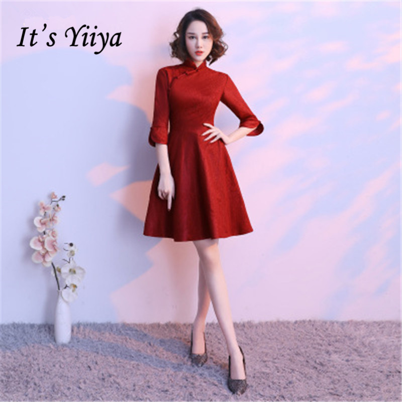 It's Yiiya Luxury Red High Collar Half Sleeve Floral Print Button   Cocktail     Dresses   Knee-Length Party Formal   Dress   MX062