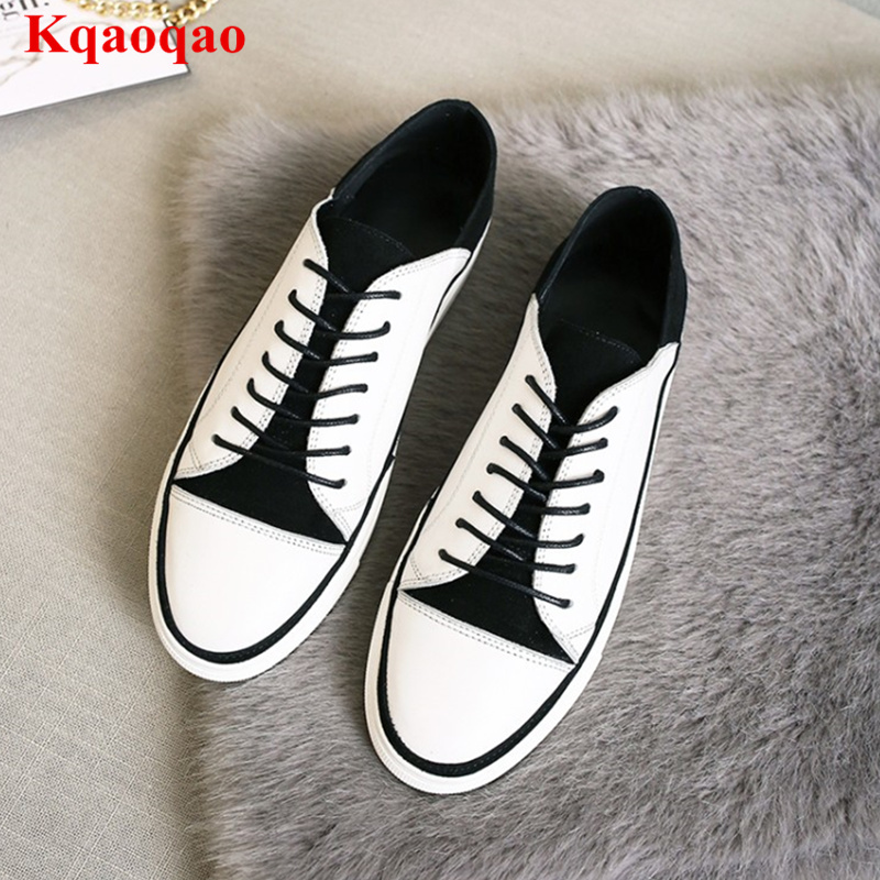 Black White Women Flats Low Top Lace Up Casual Shoes Loafers Leather Chaussures Femmes Brand Runway Star Street Shoes SneakersBlack White Women Flats Low Top Lace Up Casual Shoes Loafers Leather Chaussures Femmes Brand Runway Star Street Shoes Sneakers