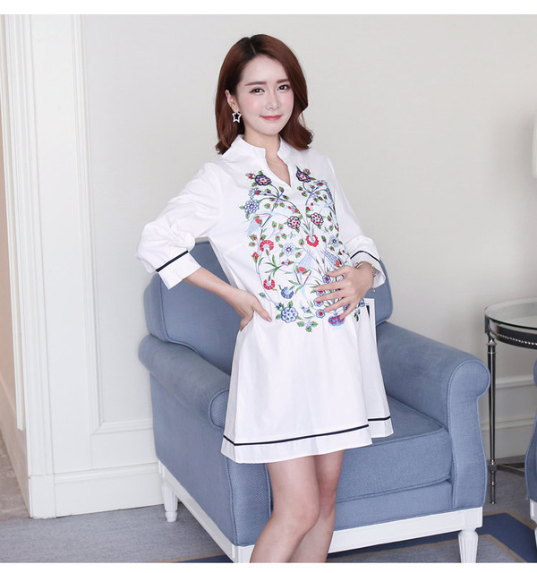Maternity Blouse Shirt Clothes Pregnancy Wear Tops Tees Clothing White Floral Embroidery Clothes For Pregnant Women 3