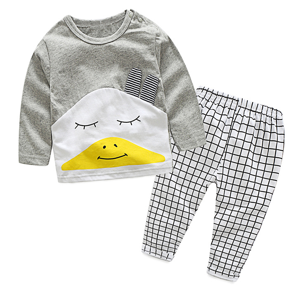 Fashion 2 Pcs Unisex Chidren Clothing Set Long Sleeve T-Shirt Suits+Pant Baby Boys Girls Cotton Clothes Spring Autumn